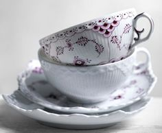 Royal Copenhagen Fluted Lace in a reddish-burgundy... lovely!
