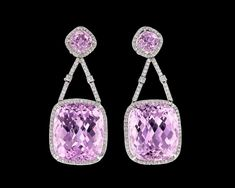 Kunzite Dangle Earrings, 90.00 Carats~ Four pinkish-purple kunzites totaling approximately 90.00 carats are set in these eye-catching dangle earrings. The stones are joined by diamonds totaling 2.25 carats in their 18K white gold setting. ~M.S. Rau Gemstones For Sale, Rare Gemstones, Alexandrite, Gemstone Colors, Peridot, Garnet, Jewelry Box, Dangle Earrings, Dangles