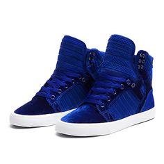 SUPRA WMNS SKYTOP   ROYAL-WHITE   Official SUPRA Footwear Site  oh so pretty blue velvet!