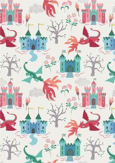 Dragons, Lewis & Irene | Dragon Castle on Cream | Empress Mills