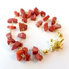 Red Coral Bracelet Yellow Gold Turtle Box Clasp Jewelry by cdjali, $25.00