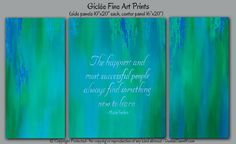 Teal blue & green office wall art, Motivational wall decor canvas quote, Abstract Inspirational quote, Motivational gift, Success artwork