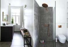 Bad med tre funktioner samlet i ét rum Scandinavian Bathroom, Toilet, White Houses, Bed And Breakfast, Bathtub, House Design, Wellness, Bathroom Stuff, Bathroom Ideas