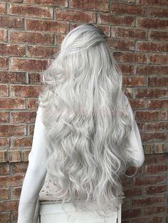 """Rachel 32"""" Silver Ombré  Human Hair Blend Lace Front Wig"""