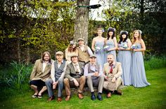 quirky cool wedding, bohemian, casual groomsmen, blue bridesmaids, image by Martins Kikulis