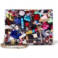 Multicolored acrylic, black leather (Lamb) Magnetic-fastening front flap Comes with dust bag Made in Italy Bags Online Shopping, Cell Phone Purse, Gold Clutch, Bag Sale, Fashion Handbags, Bag Making, Leather Handbags, Jimmy Choo, Just For You
