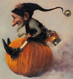 Viking Pumpkin King hurries home with visions of pumpkin cookies, pumpkin cake, pumpkin pudding with his pumpkin sweetheart in his orange fjord ship with the midnight sun shining on he and his pumpkin joys!