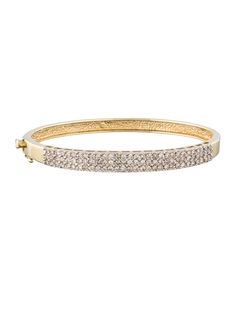 14K yellow gold bangle bracelet with diamond accents and box clasp closure.
