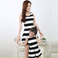 Promotion price 2017 new mother daughter dresses family matching outfits mommy and me clothes black white stripe sleeveless women fashion dress just only $18.30 - 19.90 with free shipping worldwide #boysclothing Plese click on picture to see our special price for you