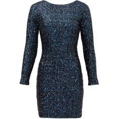 Rental Slate & Willow Alessia Sheath ($35) ❤ liked on Polyvore featuring dresses, blue, mesh dress, blue sequin dress, longsleeve dress, boat neck dress and long sleeve dress