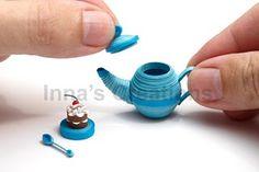 Miniature 3D quilled tea set
