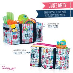 June special ... $10 Large Utility Totes and $25 Deluxe Utility Totes with a $35 purchase. Also ... only in June ... new Fun Flops print!!
