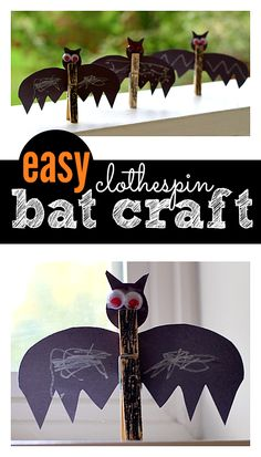EASY bat Halloween craft for kids. The steps include a bunch of great fine motor skill work too. Perfect for Halloween parties.
