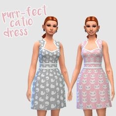Purr-fect Catio DressA quick add-on to request for cat-patterned skirts or dresses! (you can find version HERE). I personally haven't been feeling CAS content lately,. Sims 4 Clothing, Female Clothing, Sims 4 Mods, Catio, Sims Cc, Matching Outfits, Things To Buy, Clothes For Women, Formal Dresses