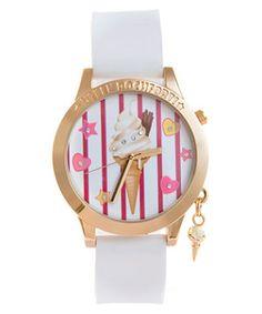 White (White) Helen Rochfort White Ice Cream Watch   257240010   New Look