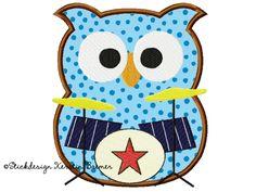Schlagzeuger Eule Applikation Stickmuster für eine Stickmaschine. Drummer Owl appliqué embroidery for embroidery machines.