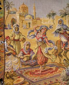 You are buying a vintage Middle East tapestry wall hanging or table runner.    Main photo is partial scene. See other photo for full scene!