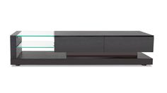 Glass and Black Wood Etta 71 Inch TV Stand with Storage | Zuri Furniture #ZuriFurniture
