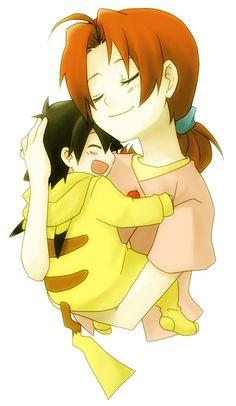 1boy 1girl ash_ketchum_(pokemon) closed_eyes hanako_(pokemon) heki_setsuna hug mother_and_son open_mouth pajamas pokemon satoshi_(pokemon) smile white_background younger