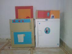 Nevera, cocinita y microondas de carton
