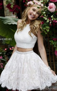 for homecoming mayben 2015 Lace Two Piece Party Dress White Sherri Hill 32313