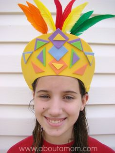 Travel to South America this summer by making a Brazil Carnival Headress - Inspired by a Passport to Imagination class for kids at Michaels! #craftysummer #craftsforkids