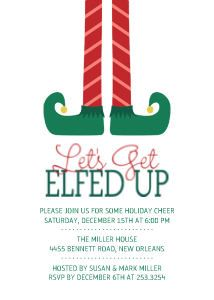 Mixbook Let's Get Elfed Up Holiday Party Invitations