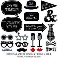 25th Anniversary - Photo Booth Props Kit - 20 Count                                                                                                                                                                                 More