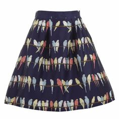 Palava - Elspeth Navy Budgies Skirt. I love this.  #quirkyskirt #stylisheveryday #ad