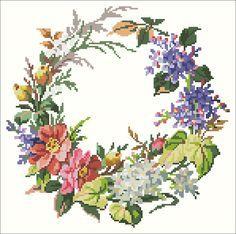 Flower wreath | Chart for cross stitch (Berlin work).