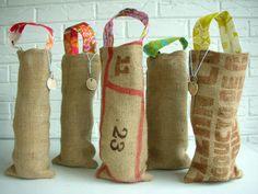 I think I've pinned these before but I love them so... Wine Bags Burlap Coffee Sacks Hostess Gift by habitationBoheme,