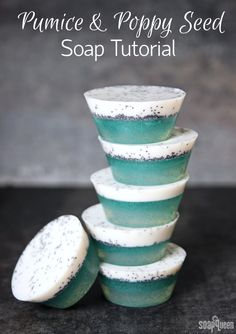 Pumice & Poppy Seed Soap Tutorial /// These soaps contain pumice, poppy seeds and eco-friendly jojoba beads to exfoliate away dead skin!