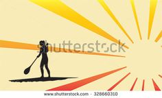 Girl Standing Up On A Paddle Board In Sunlight Gradient Background Vector Illustration