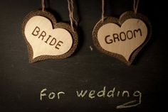 Bride and Groom chair signs photo set of 2 oak love by ByNaturelle, $20.00