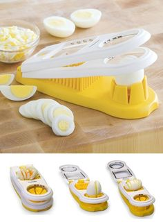 5-In-1 Egg Slicer - versatile egg slicer with stainless-steel cutting wires also dices, wedges and halves strawberries, mushrooms and other soft foods. Integrated egg piercer prevents cracked shells during boiling. Simply place food on the yellow base cup, lower the first set of blades for halves or slices, then lower the second blade to cut into dices or wedges. Nonslip feet provide added stability. Product Features 5 functions: slice, dice, pierce, wedge and ha