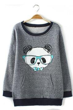 Panda Print Pullover