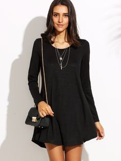 Buy it now. Black Round Neck Long Sleeve Shift Dress. Black Casual Rayon Round Neck Long Sleeve Shift Short Plain Fabric is very stretchy Fall Tshirt Dresses. , vestidoinformal, casual, camiseta, playeros, informales, túnica, estilocamiseta, camisola, vestidodealgodón, vestidosdealgodón, verano, informal, playa, playero, capa, capas, vestidobabydoll, camisole, túnica, shift, pleat, pleated, drape, t-shape, daisy, foldedshoulder, summer, loosefit, tunictop, swing, day, offtheshoulder, smoc...