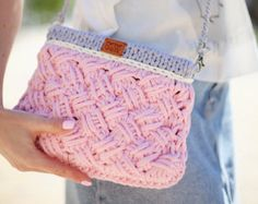 Gray Circle Bag Knitted Clutch Tshirt yarn Circle Bag by Tayny