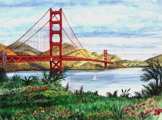 Watercolor Landscape Paintings, Landscape Artwork, Watercolor Art, San Francisco Bridge, San Francisco Art, Golden Gate Bridge, Original Paintings, Disney Lines, Watercolors