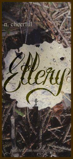 Baby Girl or Boy Name: Ellery. Meaning: Cheerful. Origin: Latin; English. https://www.pinterest.com/vintagedaydream/baby-names-by-me-vintagedaydream/