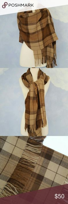 "Beautiful Blanket Scarf Beautiful brown tones make this the perfect scarf for fall. 100% baby Alpaca. Excellent quality. Perfect condition. Never worn. 72"" in length; 28"" in width. Alpaca III Accessories Scarves & Wraps"