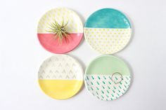 Color Block Ceramic Trinket Dish, Geometric Jewelry Storage This patterned dish is the perfect place to organize your trinkets. You can use it
