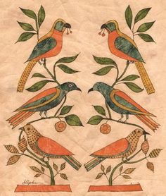 CA. 1830 SIX BIRDS IN BRANCHES PENNSYLVANIA