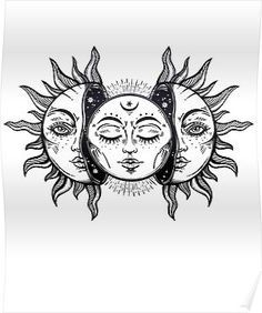 """Vintage Solar Eclipse Sun and Moon"" Poster by MagneticMama, # . - ""Vintage Solar Eclipse Sun and Moon"" poster by MagneticMama, rate - Vintage Tattoo Design, Vintage Tattoos, Sun Tattoos, Body Art Tattoos, Moon Sun Tattoo, Dream Tattoos, Tatoos, Calf Tattoos, Celtic Tattoos"