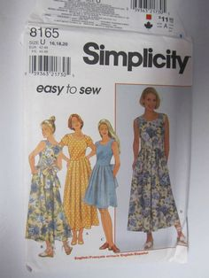 SIMPLICITY 8165 Women Size 16 18 20 Pleated Scoop Neck DRESS Easy Pattern Uncut #Simplicity