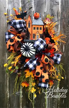 Excited to share this item from my shop: Haunted House Wreath, Halloween W. Halloween Tags, Fall Halloween, Halloween Crafts, Halloween Decorations, Halloween Wreaths, Halloween Camping, Harvest Decorations, Thanksgiving Wreaths, Autumn Wreaths
