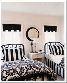 cute black and white rooms