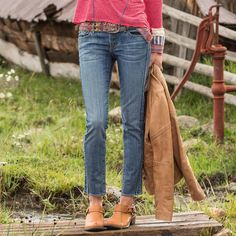 """AUDREY EMBROIDERED JEANS BY DRIFTWOOD--Zigzag embroidery up the sides adds a little spice to these classic straight essentials by Driftwood Jeans. Five-pocket detail. Cotton/spandex. Machine wash. Imported. Exclusive. Sizes 26 to 32. 31"""" inseam."""