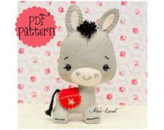 Cute Donkey PDF Pattern by Noialand on Etsy Felt Diy, Felt Crafts, Felt Christmas Ornaments, Christmas Crafts, Christmas Donkey, Christmas Star, Sewing Crafts, Sewing Projects, Sewing Hacks
