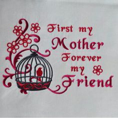 """Embroidered Quilt Block/Panel 'Mother Forever ' White Moda Flats 10""""x10"""". Would make a lovely  Mothers Day gift - you could applique this into a cushion or tray cloth."""